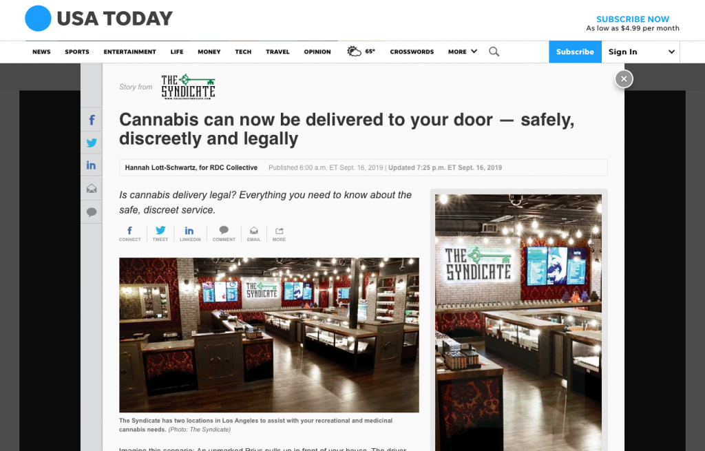 Screen Shot, News Article - Cannabis can now be delivered to your door.